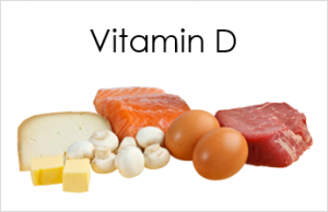 A pile of food types containing Vitamin D.